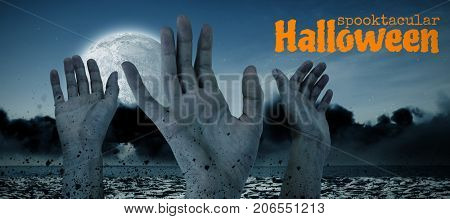 Graphic image of spooktacular Halloween text against digital image of cropped hands