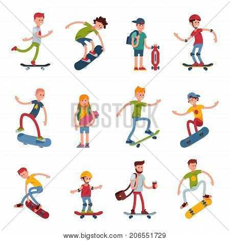 Young skateboarder active people sport extreme active skateboarding urban jumping tricks vector illustration.. Freestyle boarding skatepark