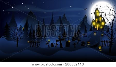 Halloween background with haunted house, tombs, forest and full moon. Blue color.