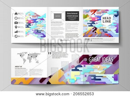 Business templates for tri fold square design brochures. Leaflet cover, abstract vector layout. Bright color lines and dots, colorful minimalist backdrop, geometric shapes, minimalistic background