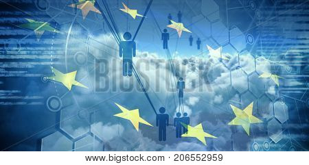 People icons and binary codes against digitally generated image of european union flag and clouds