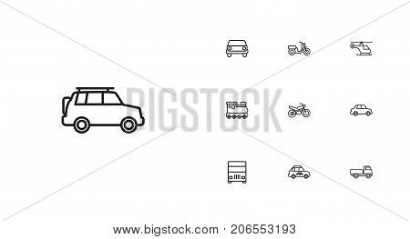 Collection Of Front View, Lorry, Moped And Other Elements.  Set Of 10 Transport Outline Icons Set.