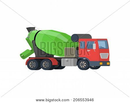 Concrete mixing truck vector. Flat design. Industrial transport. Construction machine. Red lorry with green mixer. For construction theme illustrating, building companies ad. On white