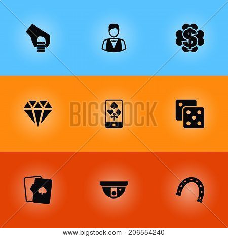 Collection Of Brilliant, Playing Cards, Gambling Cube And Other Elements.  Set Of 9 Gambling Icons Set.