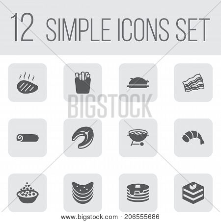 Collection Of Prawn, Pork, Mutton And Other Elements.  Set Of 12 Eat Icons Set.