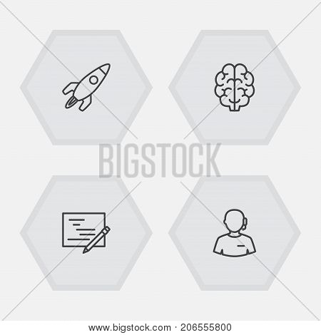 Collection Of Startup, Brain, Planning And Other Elements.  Set Of 4 Startup Outline Icons Set.
