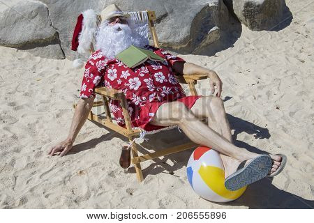 Santa Claus Napping On Beach