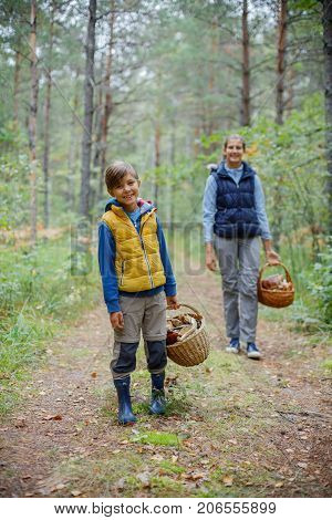 Mushrooms picking, season for mushrooms - lovely boy with his sister with picked fresh edible mushrooms in basket in the forest