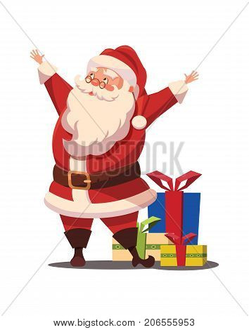Christmas Santa Claus with arms wide open and gifts