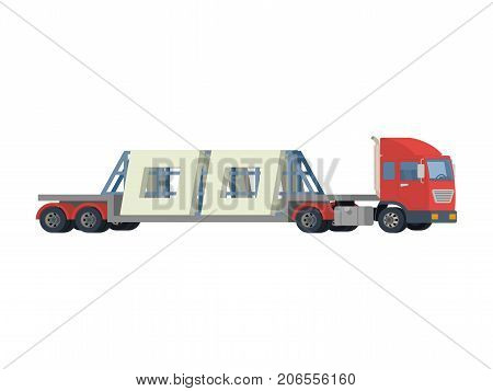 transportation of reinforced concrete slabs. A large truck carries concrete slabs. Vector.