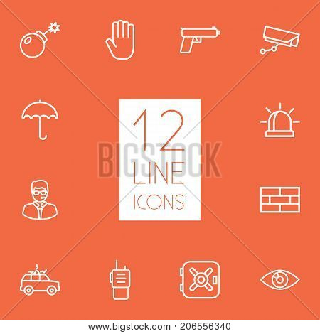 Collection Of Alarm, Safe, Supervision And Other Elements.  Set Of 12 Procuring Outline Icons Set.