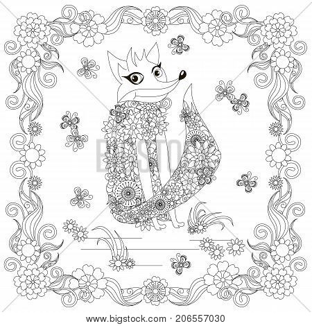Anti stress abstract fox, butterflies, square flowering frame hand drawn monochrome vector illustration