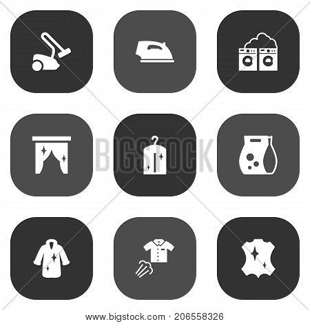 Collection Of Washing Powder, Hoover, Washhouse And Other Elements.  Set Of 9 Cleaning Icons Set.