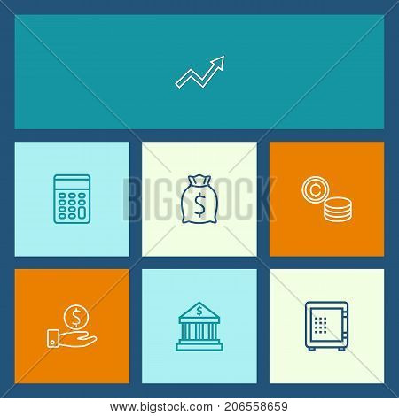 Collection Of Calculator, Moneybag, Savings And Other Elements.  Set Of 7 Budget Outline Icons Set.