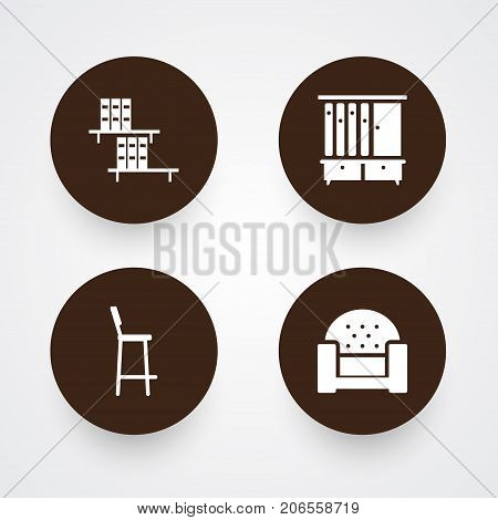 Collection Of Bookcase, Wardrobe, Sofa And Other Elements.  Set Of 4 Decor Icons Set.