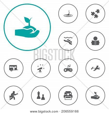 Collection Of Checkmate, Photo Camera, Caravan And Other Elements.  Set Of 12 Lifestyle Icons Set.