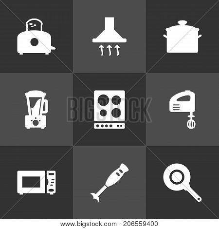 Collection Of Oven, Skillet, Blender And Other Elements.  Set Of 9 Cooking Icons Set.