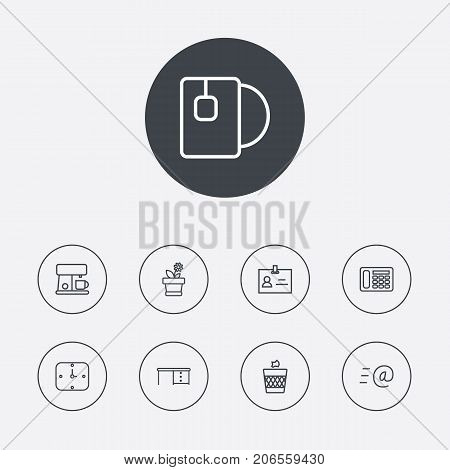 Collection Of Badge Id, Email, Flowerpot And Other Elements.  Set Of 9 Bureau Outline Icons Set.