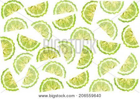 Cross section of kaffir lime, citrus fruit background