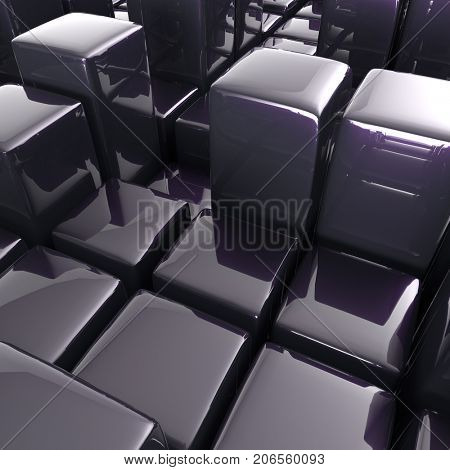 Abstract background of cubes in black toned. 3d rendering