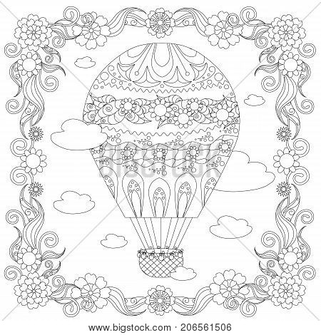 Anti stress abstract balloon, clouds, square flowering frame hand drawn monochrome vector illustration