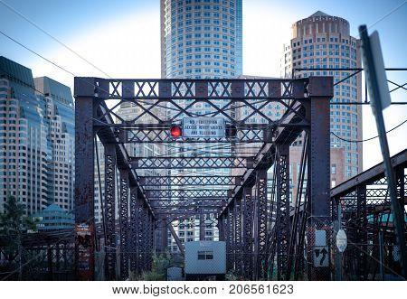 Closed footbridge in Boston's seaport district bridge