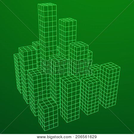 Mesh low poly wireframe cubes array like skyscraper city. Connected lines. Connection Box Structure. Digital Data Visualization Concept. Vector Illustration.