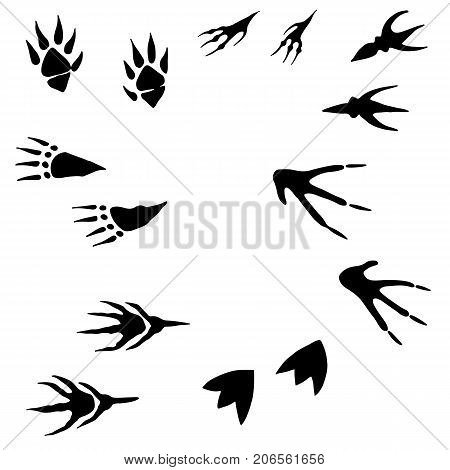 Collection of hand drawing, imprint of paws of monsters, cartoon style, black silhouette of a track, isolated white background .Vector set traces of aliens. Funny illustration of paws of animals.