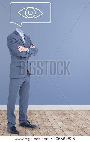 Headless businessman with arms crossed against vector image of eye on speech bubble