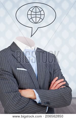 Headless businessman in suit standing with arms crossed against vector image of globe icon on speech bubble