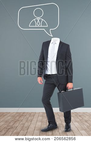 Headless businessman holding briefcase against vector image of businessman icon on speech bubble