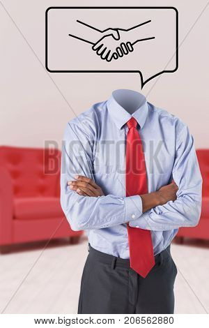 Headless businessman standing with arms crossed against vector image of handshake on speech bubble