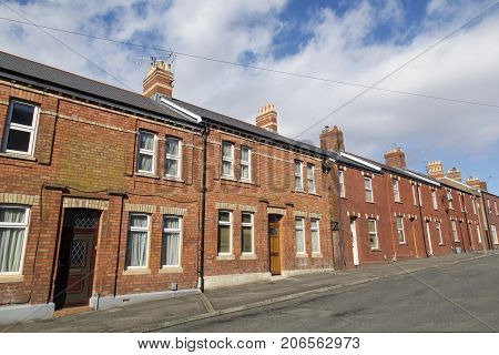 Cardiff, UK: March 2016: Traditional Red Brick Terraced Houses in Cardiff.