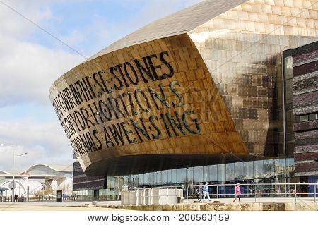 Cardiff, UK: March 10, 2016: Wales Millennium Centre is an arts, theatre and entertainment building located in the Cardiff Bay area of Wales. It was opened in 2004.