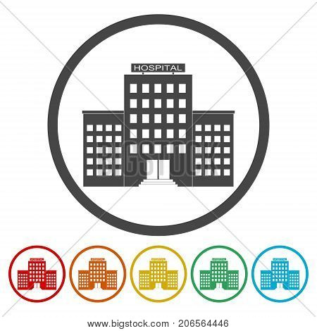 Hospital icons set, simple vector icon on circle