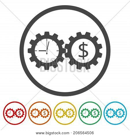Time is money, Business gears concept icons set