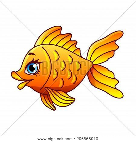 Cartoon gold fish isolated on white vector illustration