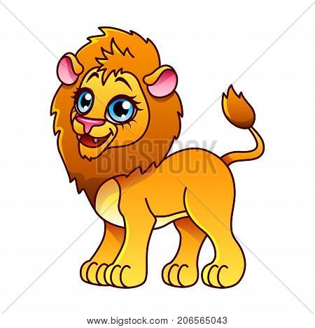 Cartoon lion isolated on white vector illustration