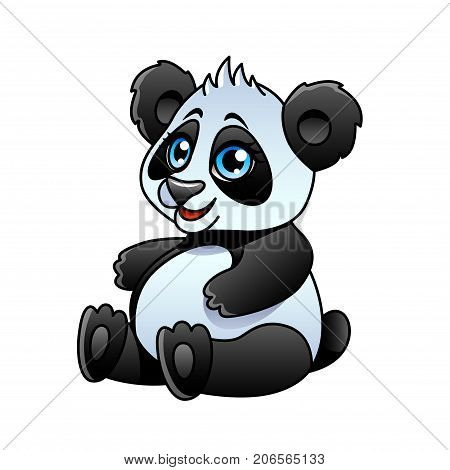 Cartoon panda isolated on white vector illustration