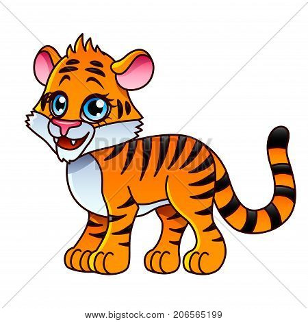Cartoon tiger isolated on white vector illustration