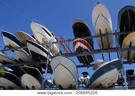 Boats stored non a storage rack at a marina in Key Biscayne ,Florida