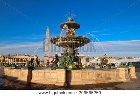 Fountain on Place Concorde. Place de la Concorde is one of major public squares in Paris, France.