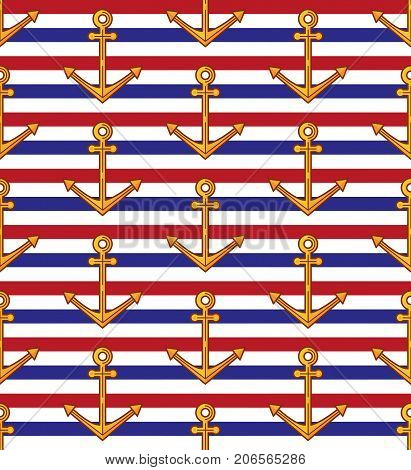 Anchor striped colorful nautical seamless vector patter