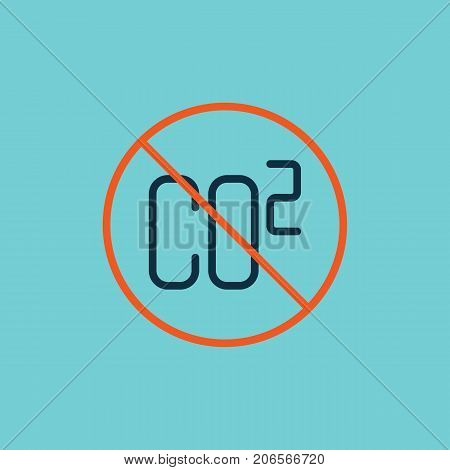 flat color co2 prohibited sign on white background