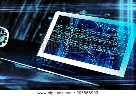 Side view of modern workplace with car network on laptop computer screen and clock. Navigation concept. Double exposure