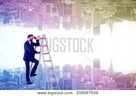 Businessman on ladder looking into the distance on abstract upside down rainbow city background. Research concept