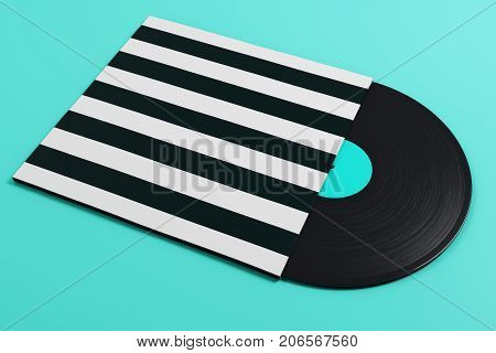 Vinyl Record On Light Blue Background