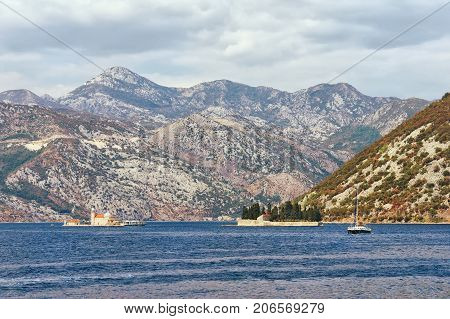 Two islets off the coast of Perast in Bay of Kotor Montenegro