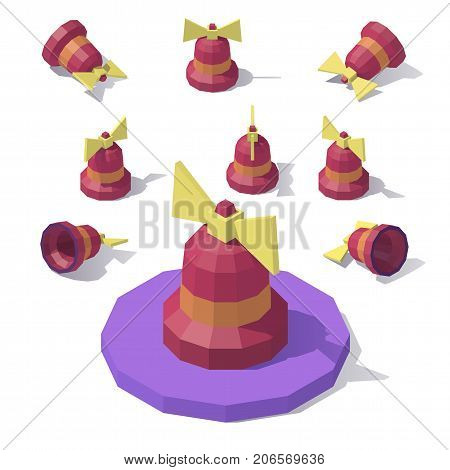 Vector isometric low poly New Year s bell with a bow. Bells from different angles.