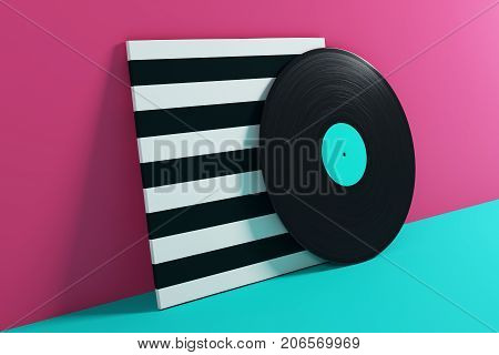 Vinyl Record On Turquoise Background